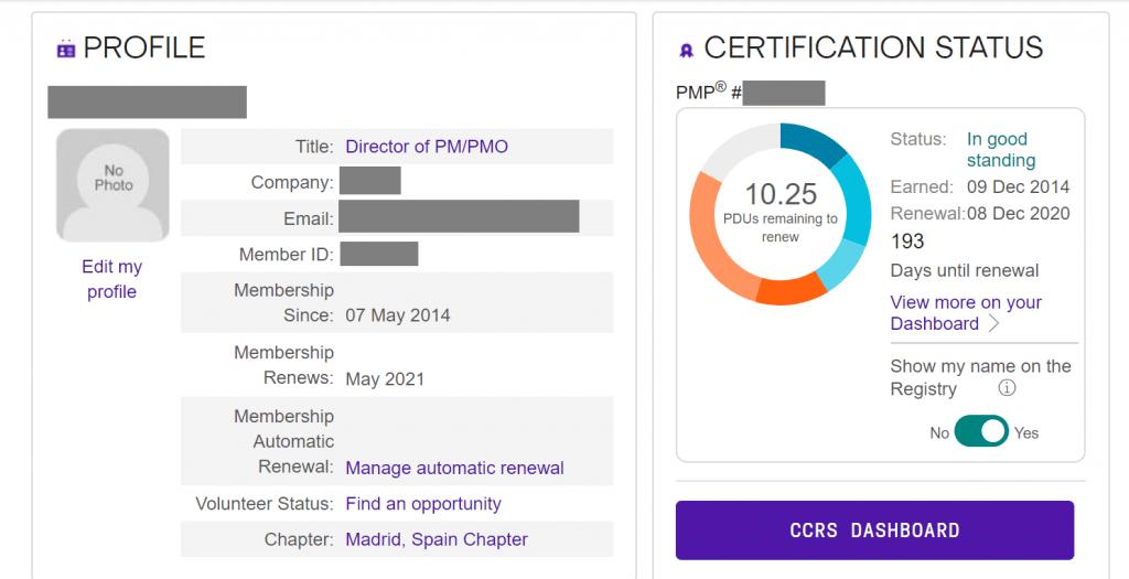 Renovacion certificacion PMP - PDUs y fecha de renovación